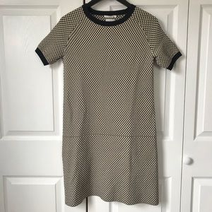 COS short sleeve contrast trim flared dress Small